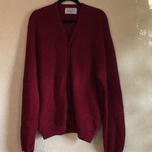 Vintage Burgundy Wine Wool Grandpa Sweater